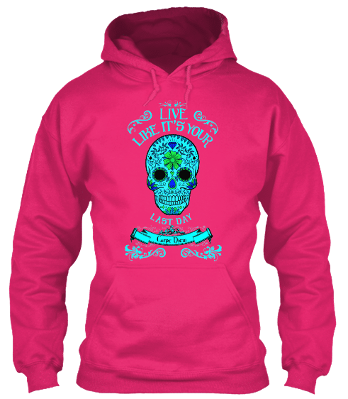 Hoodies Sweatshirts Zipperless Pullover Front Pocket Pouch sugar skull carpe diem