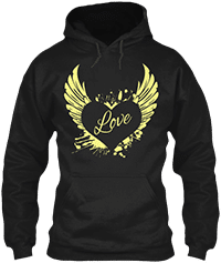 Hoodies Sweatshirts Zipperless Pullover Front Pocket Pouch heart wings love