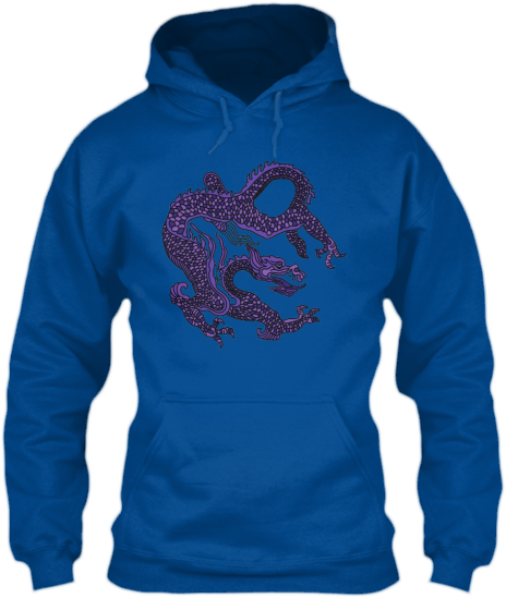 Hoodies Sweatshirts Zipperless Pullover Front Pocket Pouch Purple Dragon