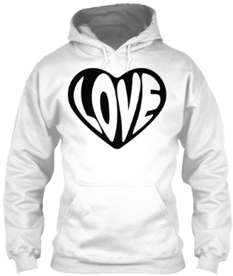 Love Black and White Heart Hoodie