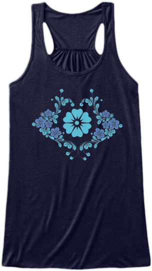 Yoga & Fitness Cute Tank Tops Blue cyan Flowers floral printed on front Womens Sleeveless Yoga Fitness racerback Tank Top