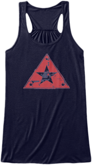 Yoga & Fitness Cute Tank Tops Faded red triangle with star printed on front Womens Sleeveless Yoga Fitness Racerback Tank Top