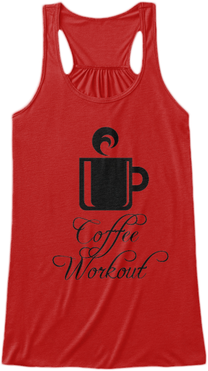 Yoga & Fitness Tank Tops Coffee Workout words on front with coffee cup image.