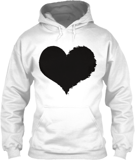 Hoodies Sweatshirts Zipperless Pullover Front Pocket Pouch black grunge heart