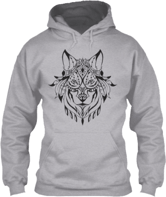 Black Indian Wolf Head Hoodie
