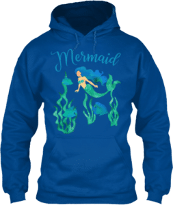 Royal blue mermaid swimming in the ocean underwater hoodie