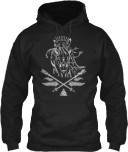Horse lovers boho feathers arrows black hoodie