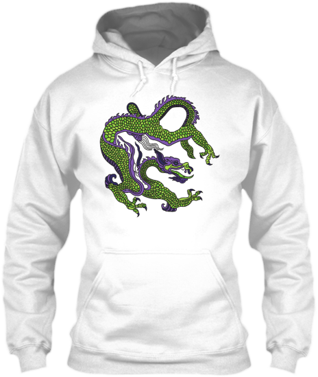 Hoodies Sweatshirts Zipperless Pullover Front Pocket Pouch Chinese Dragon