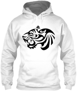 Hoodies Sweatshirts Zipperless Pullover Front Pocket Pouch tiger head