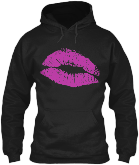 Hoodies Sweatshirts Zipperless Pullover Front Pocket Pouch pink kiss lips
