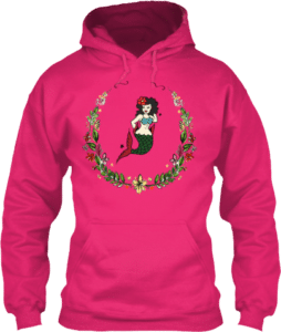Flower wreath mermaid in the center tattoo hoodies