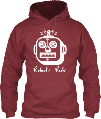 White Square Head Robot Hoodie Robotics Lovers
