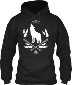 Wolf howling at the moon feathers arrows boho hoodie