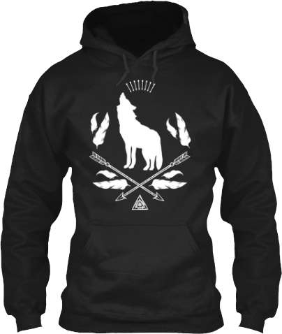 Howling wolf Indian arrows and feathers hoodies