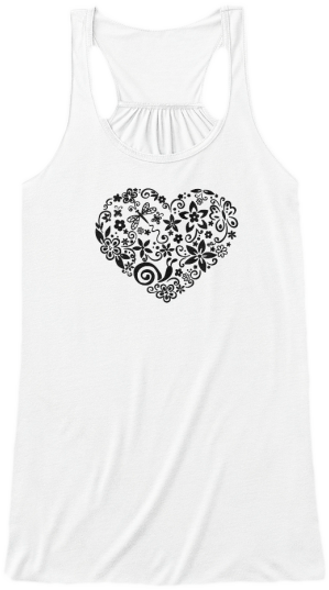 Yoga & Fitness Cute Tank Tops Black heart made up of doodles printed on front Womens Sleeveless Yoga Fitness racerback Tank Top