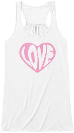 Yoga & Fitness Cute Tank Tops Pink heart with the word Love printed on front Womens Sleeveless Yoga Fitness racerback Tank Top