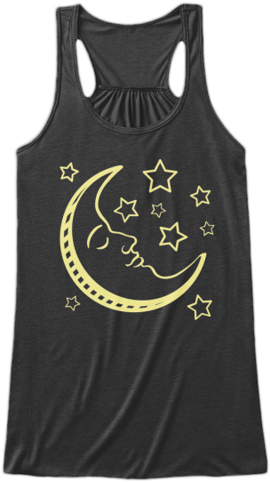 Yoga & Fitness Cute Tank Tops Yellow Moon Face and Starts printed on front Womens Sleeveless Yoga Fitness racerback Tank Top