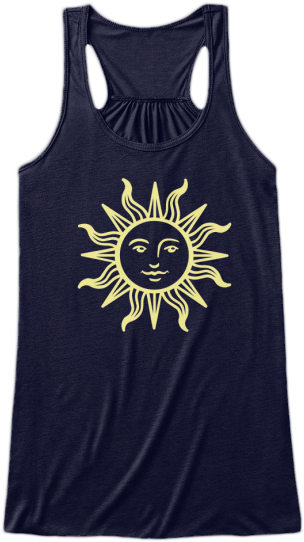 Yoga & Fitness Cute Tank Tops Yellow Sun Face printed on front Womens Sleeveless Yoga Fitness racerback Tank Top