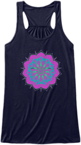 Yoga & Fitness Cute Tank Tops Pink and cyan blue mandala with green printed on front Womens Sleeveless Yoga Fitness Racerback Tank Top