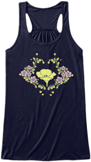 Yoga & Fitness Cute Tank Tops Yellow pink flowers printed on front Womens Sleeveless Yoga Fitness racerback Tank Top