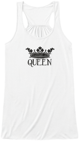 Yoga & Fitness Cute Tank Tops White queen crown with the word queen printed on front Womens Sleeveless Yoga Fitness Racerback Tank Top