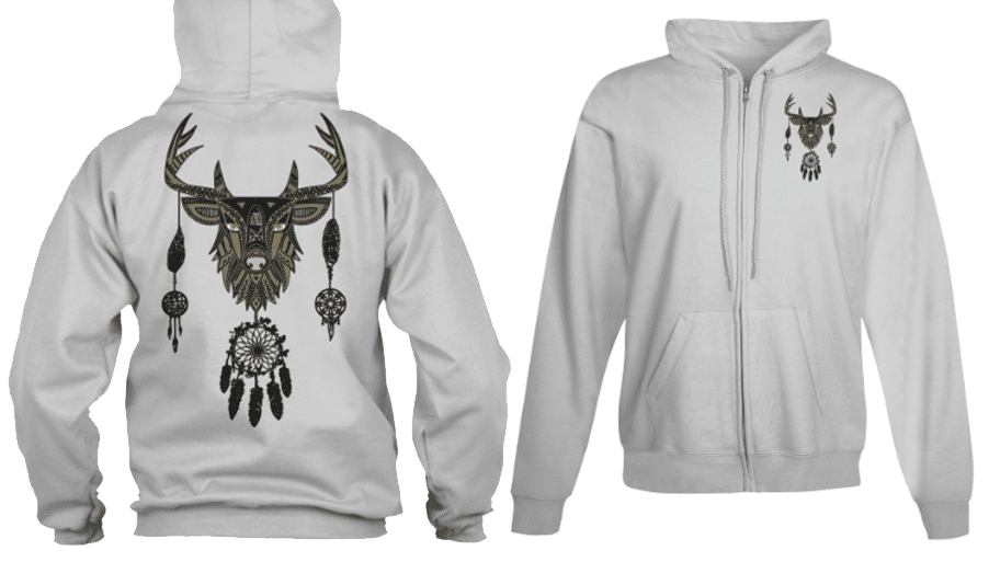 Zip Hoodie Deer Buck Indian Dream Catcher