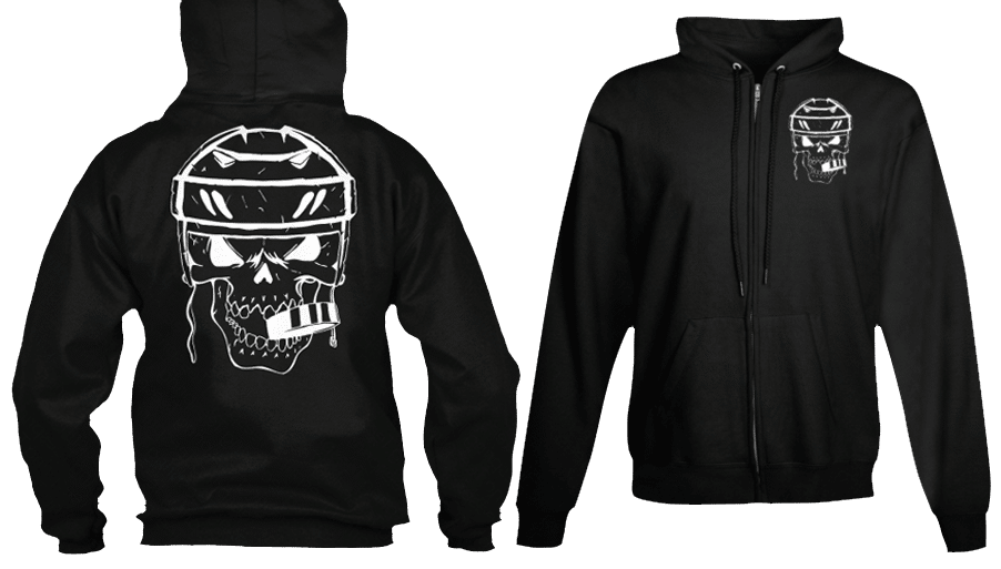 Hockey Skull Puck Zip Sports Hoodie