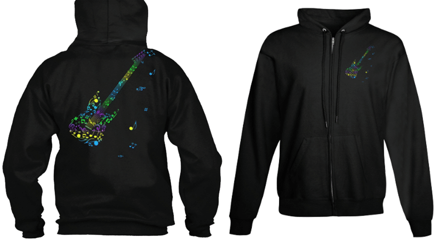 Zip Hoodie Musicians Guitar Notes Staff Colorful