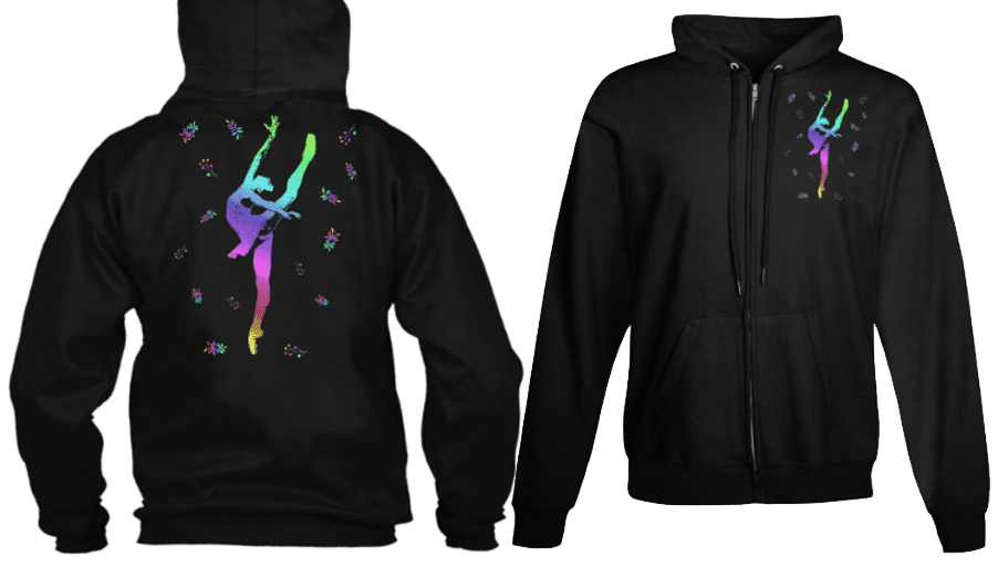 Ballet dancer en pointe zip hoodie dancewear