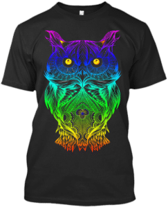 Psychedelic Hippy Hipster Owl T shirt