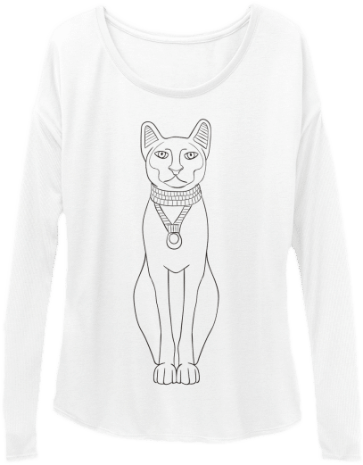 Slouchy Long Sleeve Tee for Women Egyptian Cat