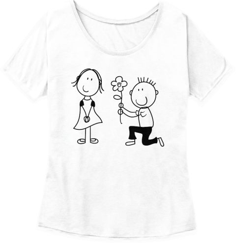 Womens Tee shirt boy giving girl a flower while on his knee