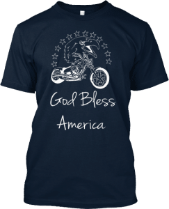 God Bless America Motorcycle Stars Eagle T-shirt