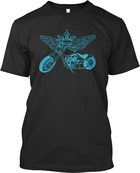 T shirt motorcycle king crown wings