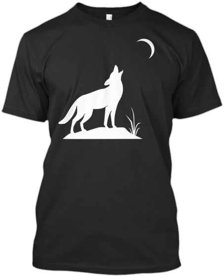 T-Shirts Wolf howling at moon white