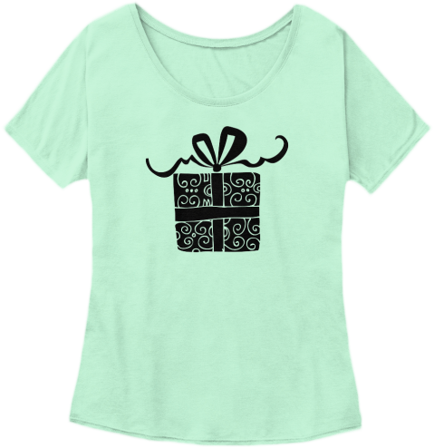 Womens Tee Shirt with present and bow