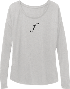 F Clef Music Long Sleeve Womens Top