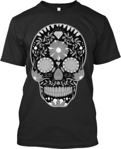 Black and white sugar skull t shirt
