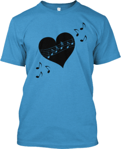 tshirt heart musical notes