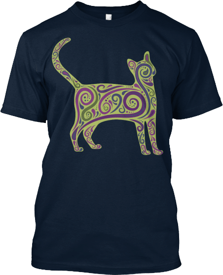 Green Purple Red Cat Tshirt