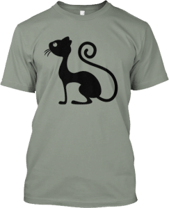 Black Cartoon Cat T shirt