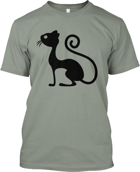 Cat Curly Tail Front Back T-shirt