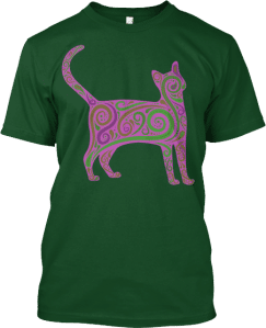 Pink Art Swirls Cat T shirt
