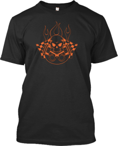 Skull Racing Flags Flame Fire Tee T Shirts Skulls Skull Collection