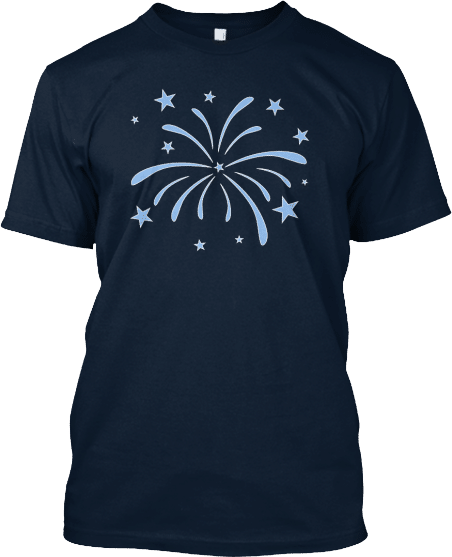 Blue Fireworks 4th of July Independence Day T-shirt