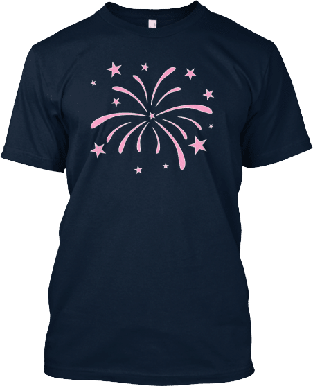 Pink Fireworks Fourth of July T-shirt Independence Day