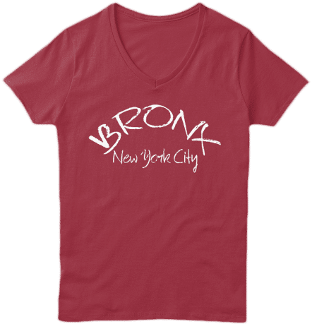 V Neck Tee Shirt Bronx New York City