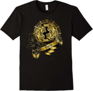 T shirt Pisces zodiac sign born February 19 to March 20 Gold Fish Boho Style
