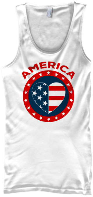 American Flag Heart Tank Top for Men or Women Stars and Stripes for Independence Day