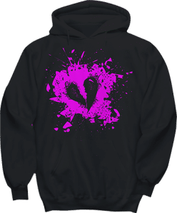 Broken Heart Grunge Hoodie in Hot Pink